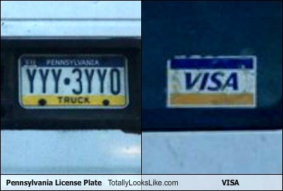 Pennsylvania License Plate Totally Looks Like VISA Credit Card
