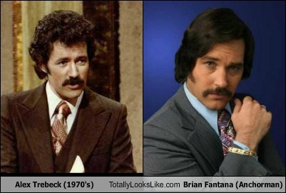 Alex Trebek (1970's) Totally Looks Like Paul Rudd (Brian Fantana, Anchorman)