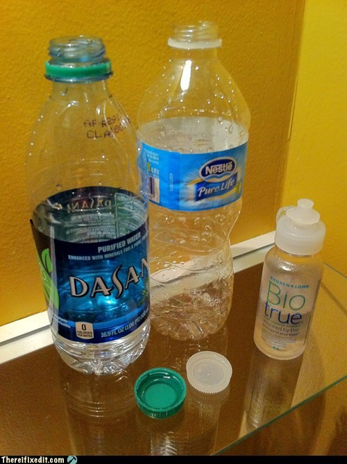 bottle cap,bottled water,contact lens,contact lenses,dasani