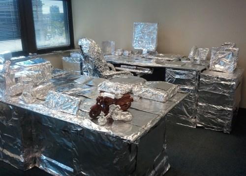 office pranks,chipotle,tin foil