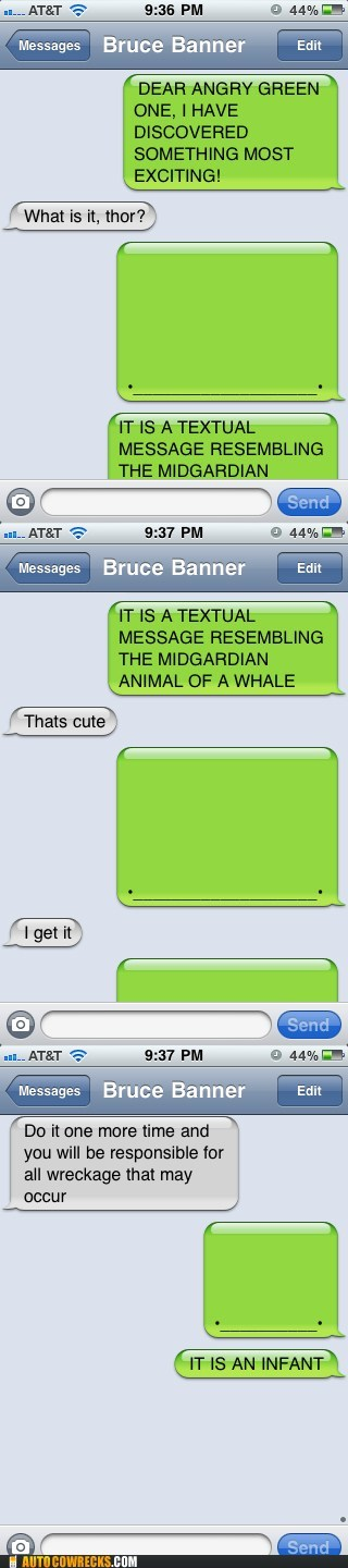 Autocowrecks: And Then Thor Discovered the iPhone Texting Whale