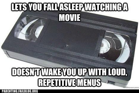 DVD,repetitive menus,tape,vcr