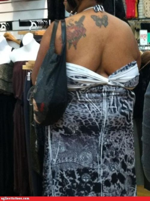 back cleavage,back tattoos,butterfly