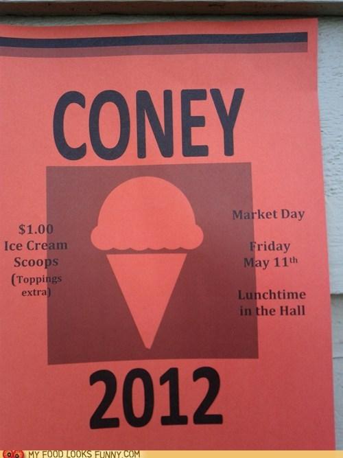 cone,coney,ice cream,Kony,Protest,sale