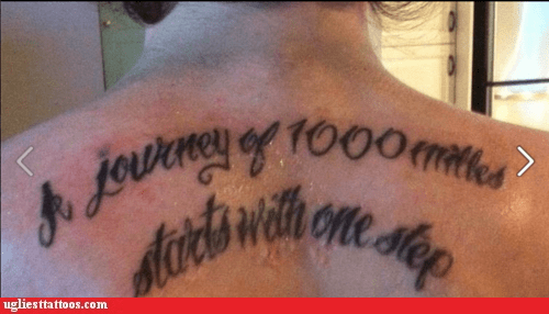 journey,miles,misspelled tattoo,one step