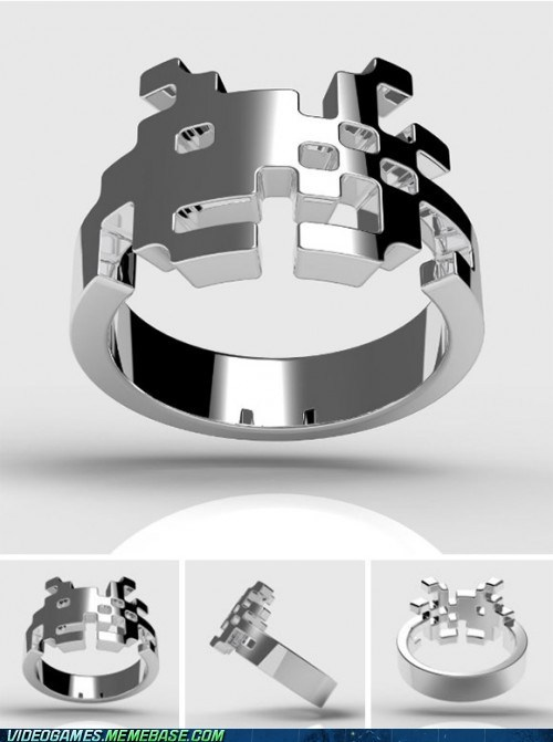 Sterling Silver Space Invaders Ring