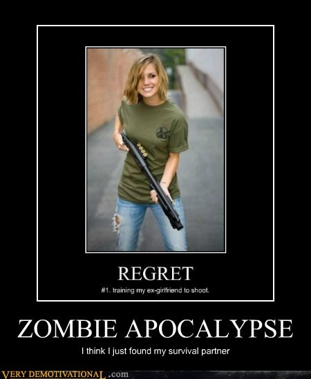 apocalypse,hilarious,partner,Sexy Ladies,shotgun,zombie
