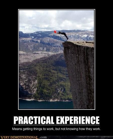 bad idea,cliff,experience,hilarious,practical