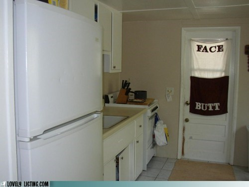 butt,curtain,door,face,kitchen,towel,window