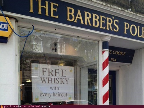 alcohol,barber shop,best of week,free,haircuts,wtf