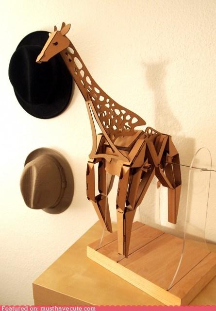 animal,cardboard,giraffes,kit,sculpture,walking
