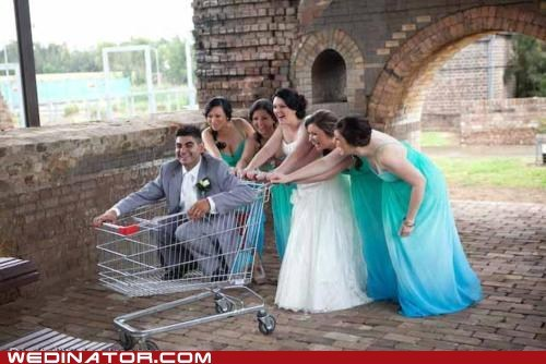 bride,bridesmaids,funny wedding photos,groom,shopping cart