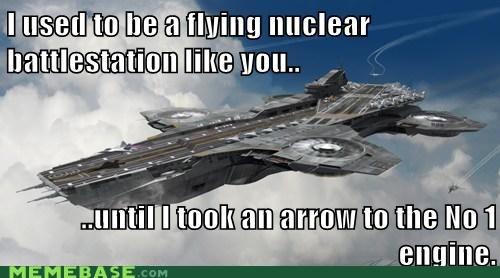 avengers,battlestation,hawkeye,helicarrier,Memes,nuclear