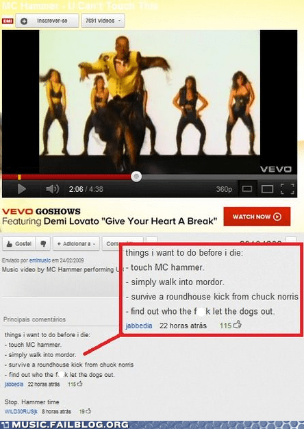 baha men,comment,mc hammer,u-cant-touch-this,who let the dogs out,youtube,youtube comments
