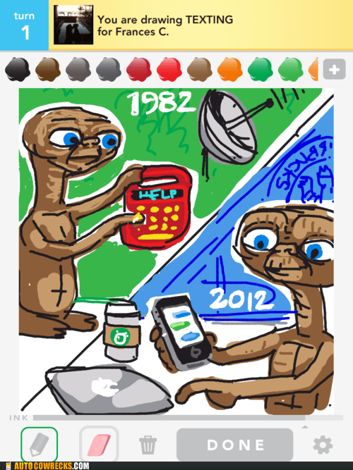 Aliens,draw something,E.T,phone home,text home