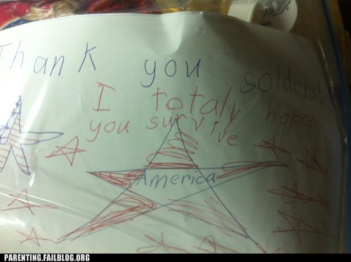 A Child's Letter to Troops in Afganistan