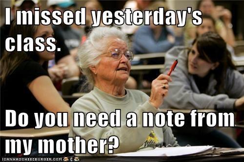 class,impossibru,mother,note,Senior Freshman