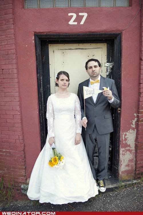 bride,funny wedding photos,groom,pennant,smile