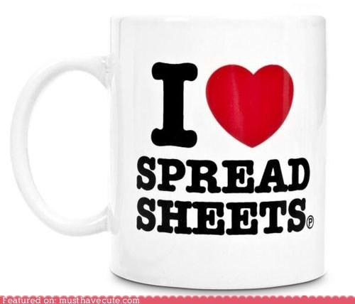 ceramic,coffee,i heart,mug,spreadsheets,work