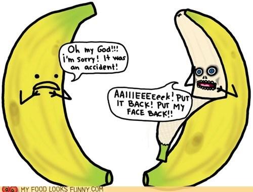 banana,face,horror,omg,peel,scary