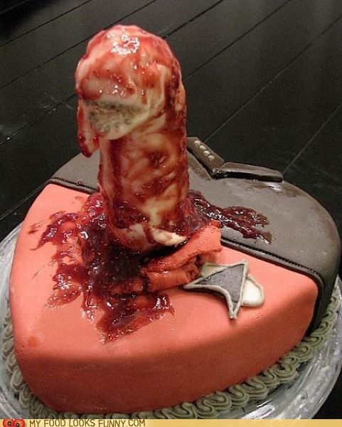 alien,cake,chest burster,gross,horror,red shirt,scary,sci fi,Star Trek
