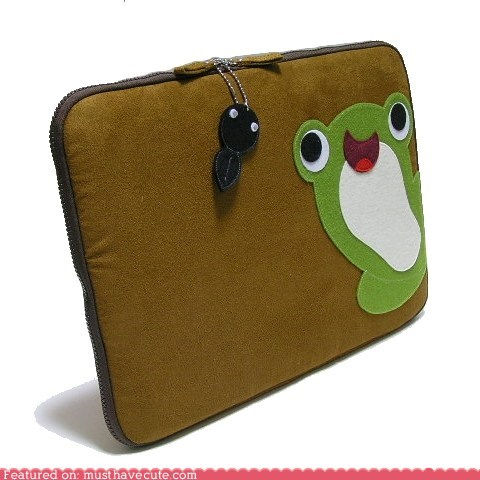 applique,case,computer,fabric,fly,frog,laptop