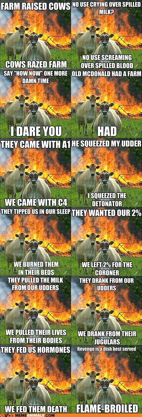 cows,evil,evil cows,fire,Hall of Fame,Memes,multipanel,revenge