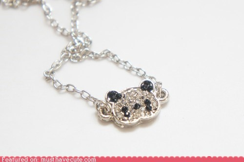 crystals,face,necklace,panda,pendant,rhinestones