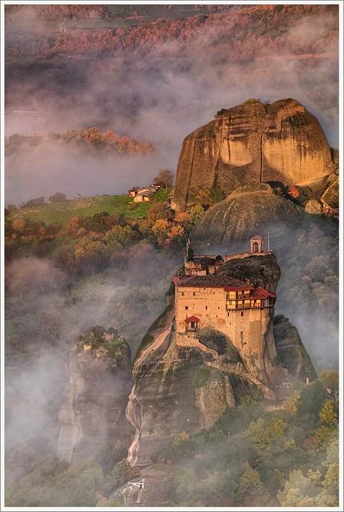 fog,greece,mist,rocks,ruins