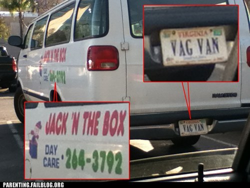 day care,jack in the box,license plate,truck,vag van