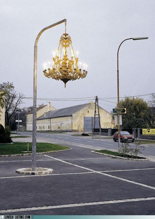 chandelier,fancy,parking lot