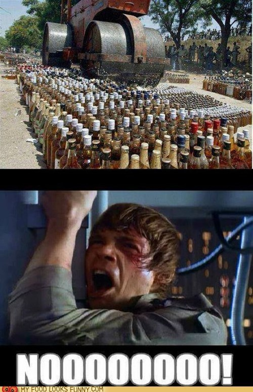 booze,destroyed,luke skywalker,nooooo,Sad,star wars,steamroller