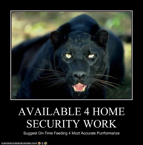 accurate,attack,available,danger,eating,food,home security,on time,panthers,scary