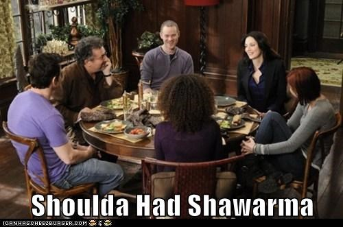 allison scagliotti,artie nielsen,claudia donovan,eating,eddie mcclintock,genelle williams,joanne kelley,leena,myka berring,pete latimer,saul rubinek,shawarma,table,warehouse,warehouse 13