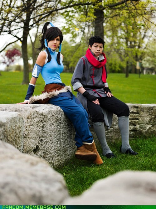 Korra and Mako Sitting on a Wall