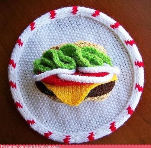 3d,art,burger,hanging,Knitted,wall