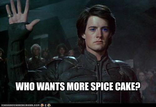 cake,david lynch,Dune,kyle maclachlan,paul atreides,raise hand,spice