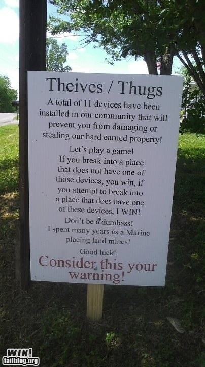 anti-theft,g rated,marine,mines,sign,theft,warning,win