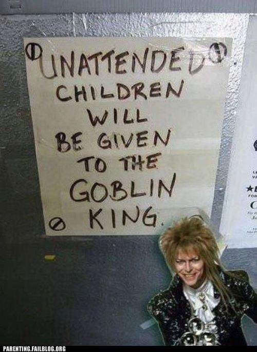 david bowie,goblin king,Hall of Fame,labyrinth,sign,unattended children