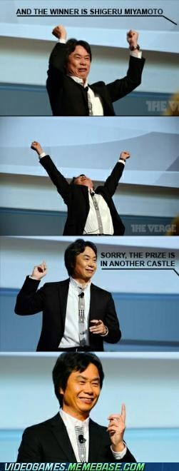 another castle,gotcha,in another castle,IRL,prank,shigeru miyamoto,you win