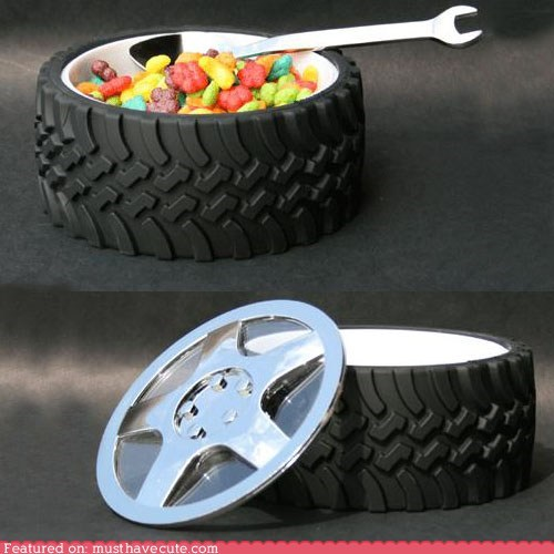 bow,cereal,mechanic,spoon,tire,wheel,wrench