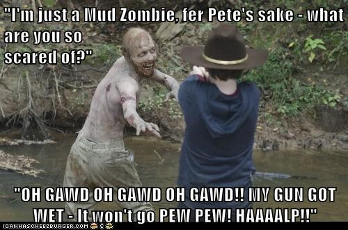 carl grimes,gun,panic,really,scared,stuck,The Walking Dead,wet,worst,zombie
