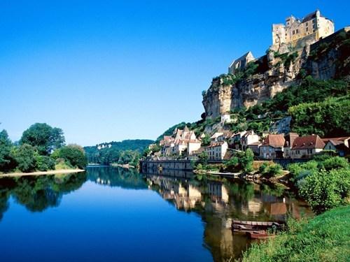 architecture,cliff,france,hillside,river