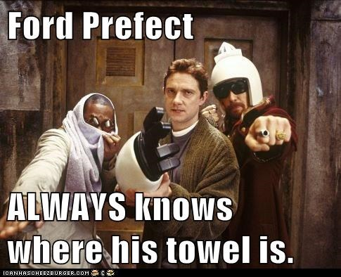 always,ford prefect,Hitchhiker's Gui,Hitchhikers Guide To the Galaxy,knows,Martin Freeman,Mos Def,Sam Rockwell,towel,zaphod beeblebrox