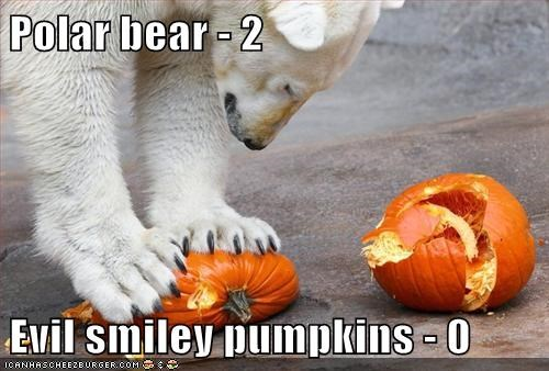 Polar bear - 2  Evil smiley pumpkins - 0