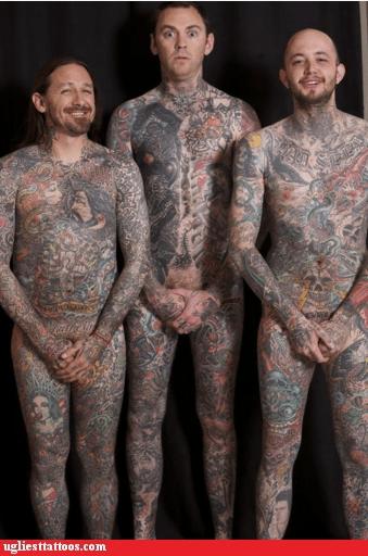 body tattoos,full coverage,three guys