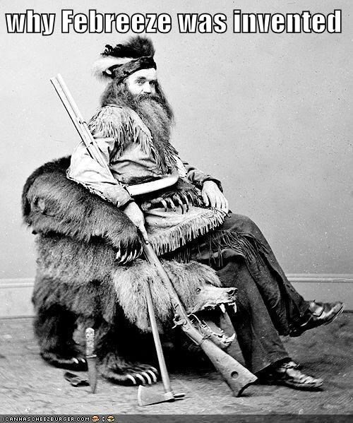bear,chair,gun,hunter,man,stinky,taxidermy