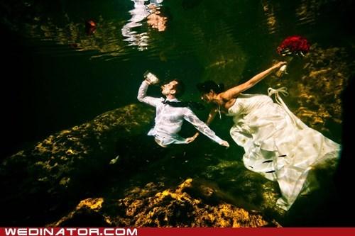 beer,bride,funny wedding photos,groom,underwater