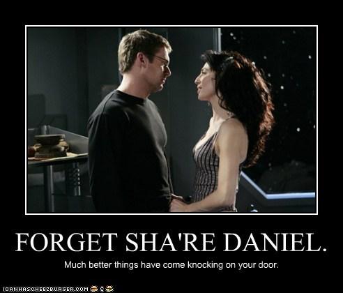 claudia black,daniel jackson,forget,knocking,michael shanks,much better,share,Stargate,vala mal doran