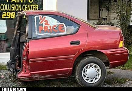 car,half price,sawed in half